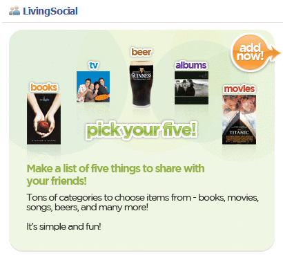 LivingSocial application page