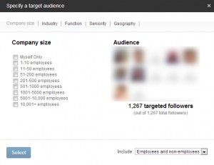 LinkedIn company page status update target followers