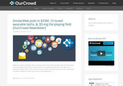 The OurCrowd blog, redesigned and developed by Pixel/Point Press. The redesign launched in Oct. 2015.