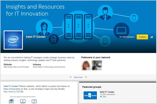 "The ""Intel IT Center"" LinkedIn Showcase Page demonstrates how to use cross-posting to promote other marketing efforts on LinkedIn."
