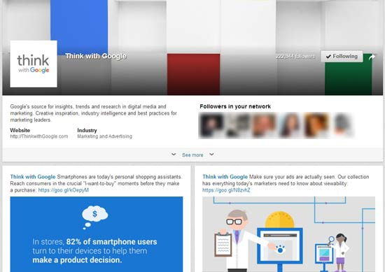 "The ""Think with Google"" LinkedIn Showcase Page exemplifies the power of this niche audience digital marketing tool."